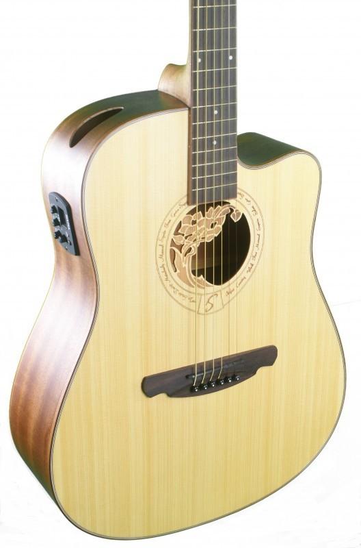 Acoustique pic a acajou avec pr ampli gigbag ebay for Housse guitare acoustique